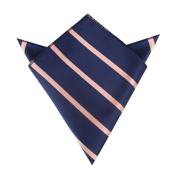 Men's Suit Handkerchief Navy Blue with Peach Stripes by OTAA