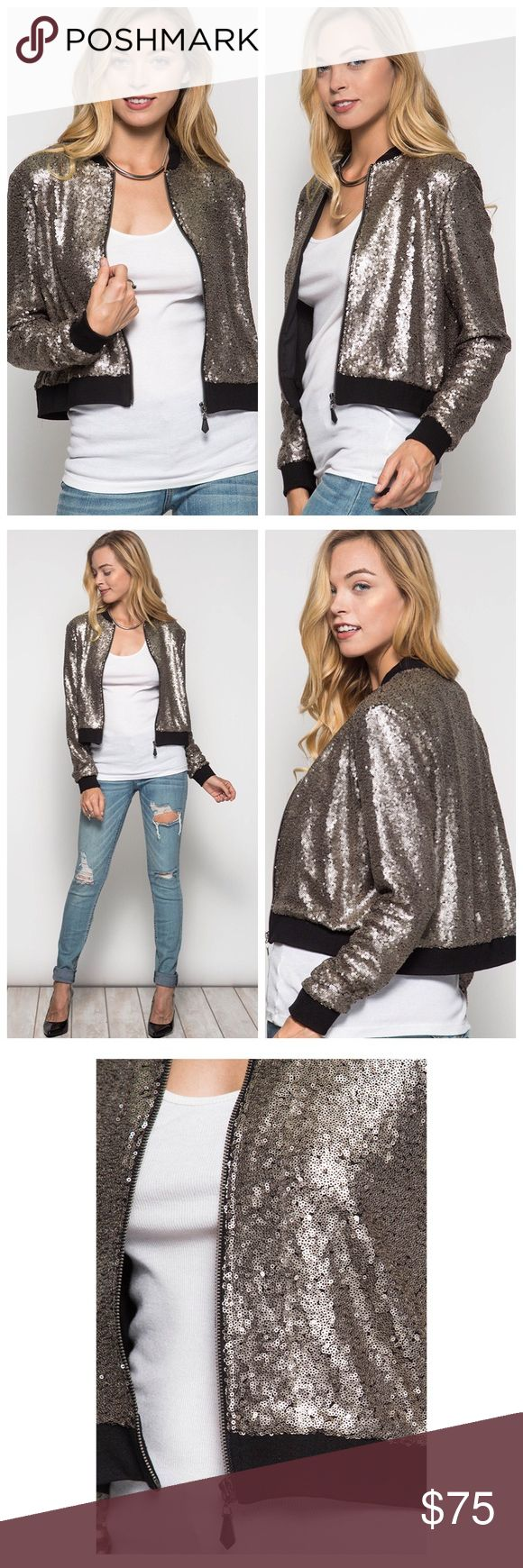 Mate sequin bomber jacket Mate gold sequin bomber jacket Jackets & Coats