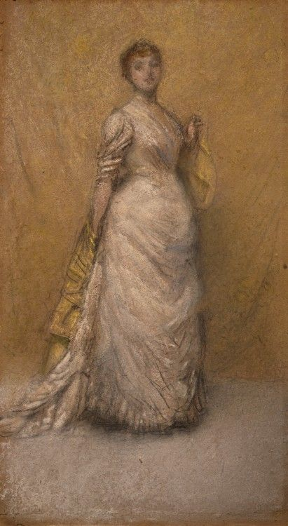 The Little Note in Yellow and Gold, 1886, James McNeill Whistler, American, 1834-1903, Chalk and pastel on cardboard, 27 cm x 14 cm