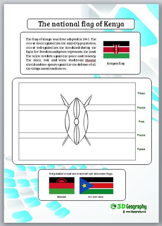 All about the flag of Kenya, complete with information and printable colour in pages of the flag of Kenya.