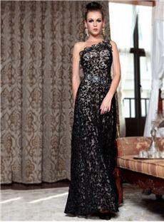 aladresses.com Offers You Charming One Shoulder Floor-Length Beading Sleeveless A-Line Black Lace Evening Dress Australia,Price: AUD$130.39