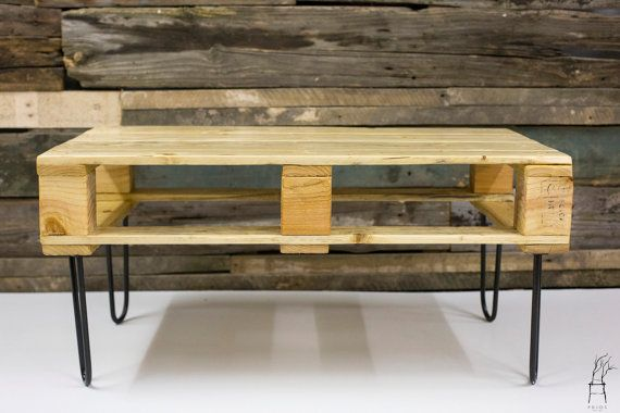 Recycled Pallet Wood Coffee Table Industrial Handmade by PriosTeam
