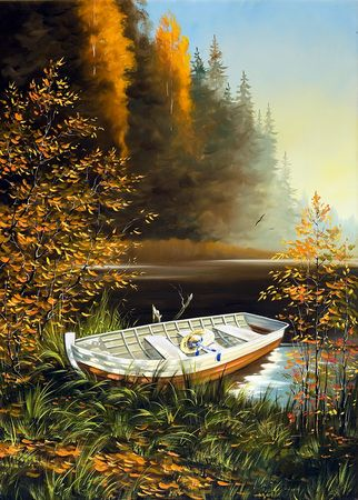 Cuadro realista de bote junto a un pantano.