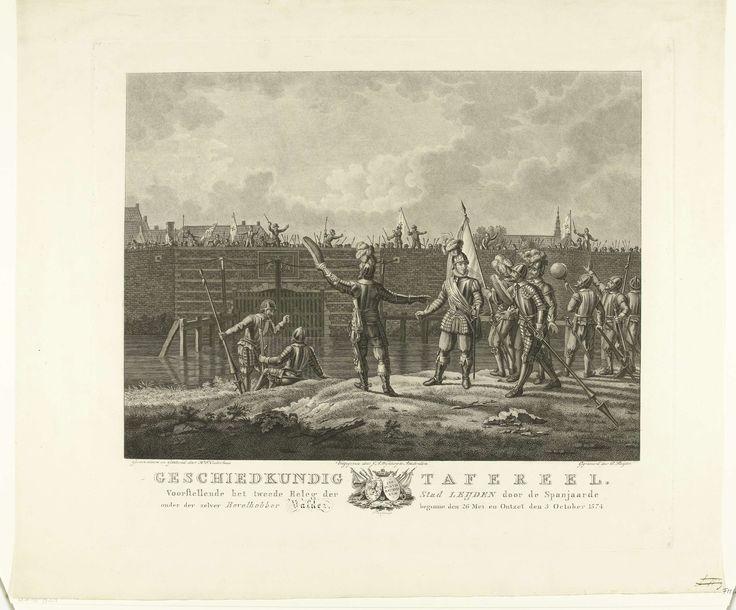 Dirk Sluyter | Beleg van Leiden door de Spanjaarden onder Valdez, 1574, Dirk Sluyter, J.A. Wijnberg, 1800 - 1852 | Beleg van Leiden door de Spanjaarden onder Valdez, 1574. Spaanse soldaten tonen brood aan de Leidenaren die op de muren van de stad staan.