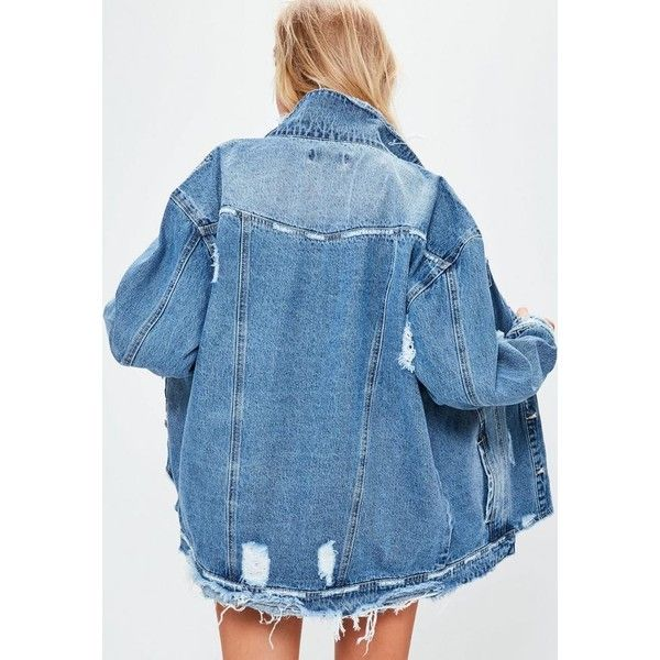 Blue Raw Hem Denim Jacket (34.955 IDR) ❤ liked on Polyvore featuring outerwear, jackets, distressed denim jacket, blue jean jacket, distressed jacket, oversized jacket and blue denim jacket