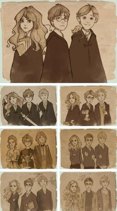 Harry, Ron, Hermione throughout the years