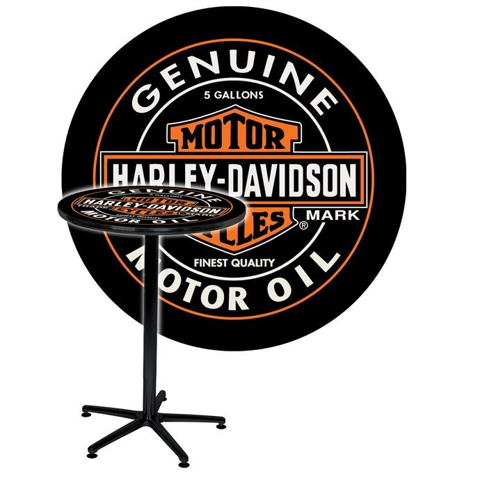 Harley-Davidson® Oil Can Cafe' Table http://www.bikerathome.com/index.php/bars-and-furniture/tables/harley-davidson-oil-can-cafe-table.html#