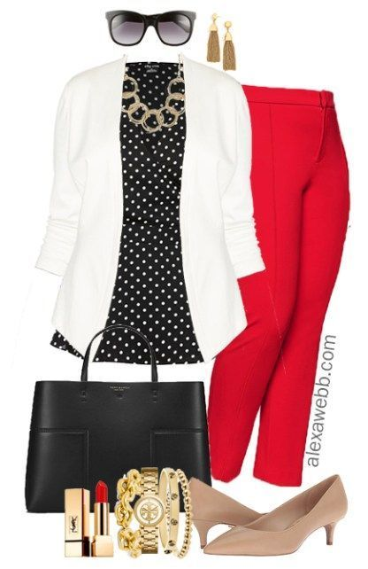 Plus Size Red Pants Work Outfits – Part 2