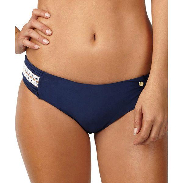 Raisins Navy Cut-Out Bikini Bottoms ($17) ❤ liked on Polyvore featuring swimwear, bikinis, bikini bottoms, navy blue swimwear, navy blue bikini, navy bikini, navy bikini bottom and raisins swimwear