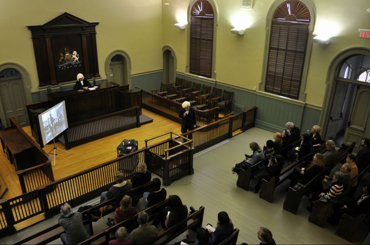 A view of the spectacular courtroom from above. The perfect stage for this mock inquest! Photo courtesy of PAMA.
