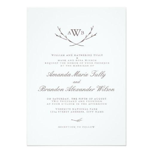 Elegant Forest Monogram Wedding Invitation Card
