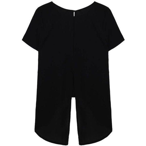 Chiffon Split Backless Irregular Hem Casual Round Collar Blouse ($6.90) ❤ liked on Polyvore featuring tops, blouses, chiffon blouse, backless blouse, backless top, black chiffon blouse and collared blouse