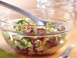 Betty Crocker's Heart Healthy Cookbook shares a recipe! Enjoy this simple and delicious salad made with three types of cabbage - ready in just 15 minutes. Perfect side for any meal!