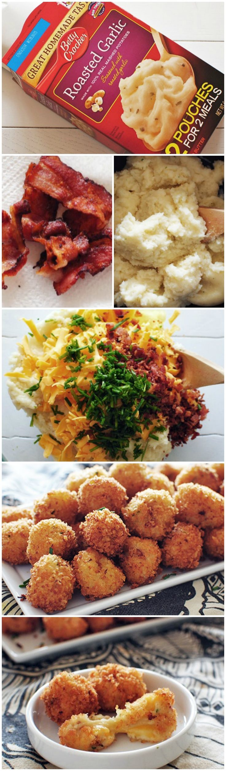 Loaded Cheesy Mashed Potato Balls, minus the potato flakes and the frying.