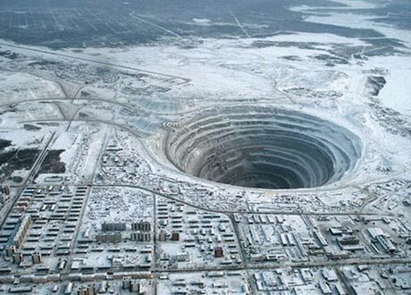 """The navel of the world. The Mirny diamond mine is located in Mirna City just below the Arctic circle in the Sakha Republic of Eastern Siberia in northeastern Russia. You can find it in Google Maps here: +62° 31' 37.20"""" or +113° 59' 24.18"""""""