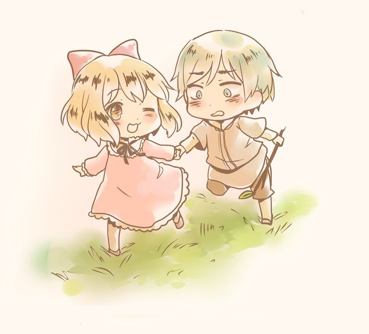 Young Anouk (head-canon name for Belgium) and Willem (head-canon name for Netherlands) - Art by 人面魚