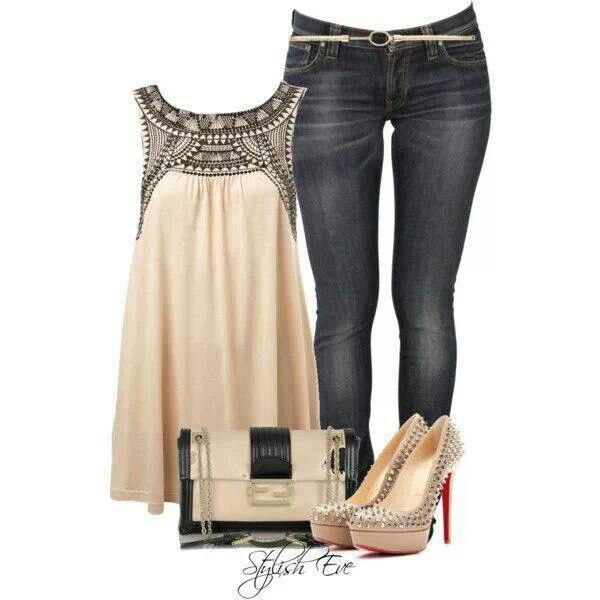 Dressy Tank N Jeans Fashion I Like Pinterest