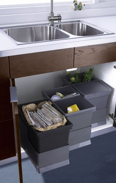 Under kitchen sink organizing of trash cans that pull out | OrganizingMadeFun.com