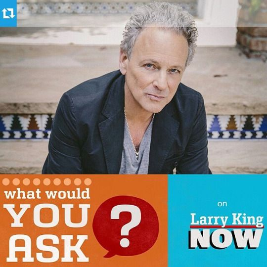 Promo for Lindsey Buckingham, guest on Larry King Now!! No airdate has been announced as yet!!