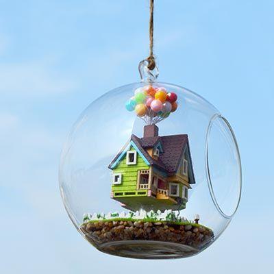 [Glass miniatuer house] F)Romantic flying house