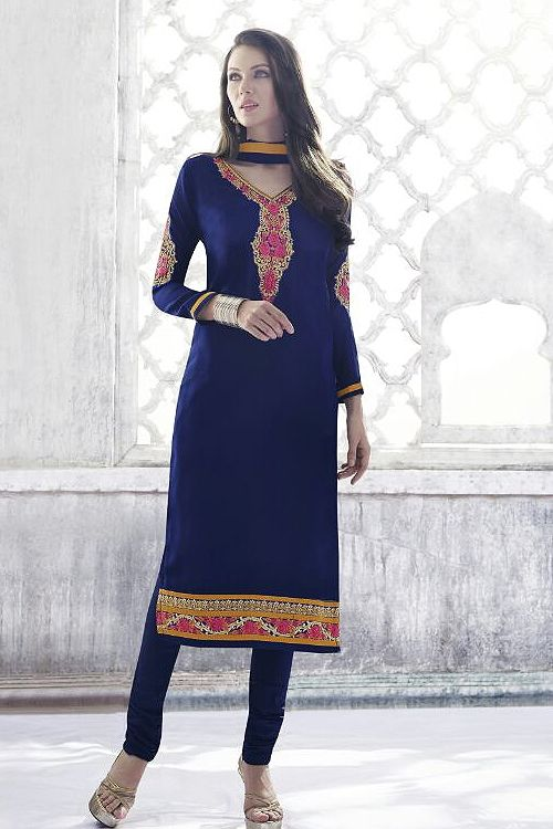 Royal Blue Georgette Straight Cut Churidar Suits  - Google Search    #SalwarKameez   #Shalwarkameez  #Indiandresses  #Indiansuits  #Indianfashion  #indianclothes  #Indianoutfits  #salwarsuits  #churidarsuits  #DesignerSalwarSuits  #palazzosuits