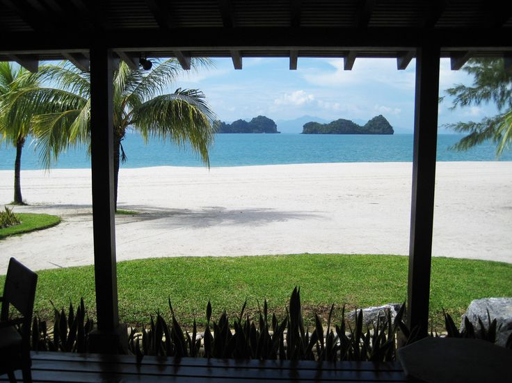 This is the view while I work on the veranda of the bungalow at the Four Seasons Langkawi, Malaysia