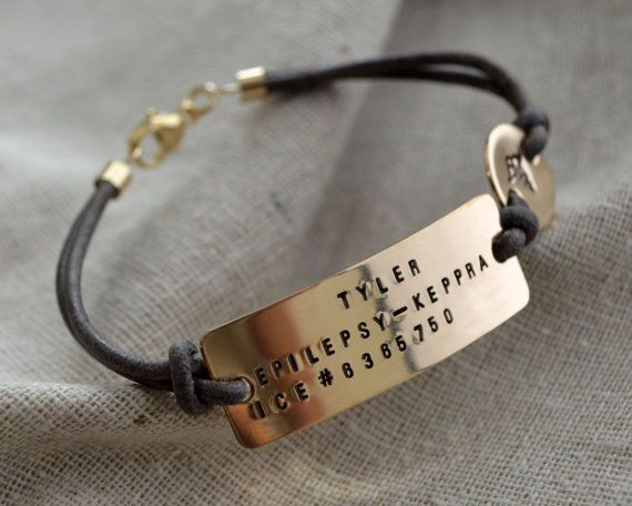 Three Line Gold Medical ID Bracelet - Customize - Hand Stamped - Epilepsy - Diabetes