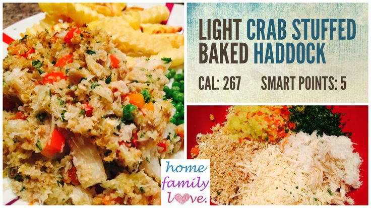 Light Crab Stuffed Baked Haddock is a healthy and only 5 Smart Points on Weight Watchers.
