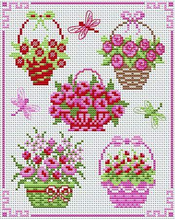 flower baskets cross stitch