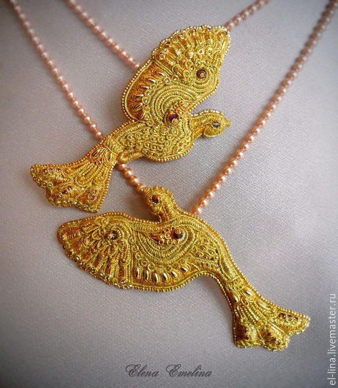 """Купить Парные броши-подвески """"Птички"""". - золотой, брошь птичка, птички, золотые птицы"""