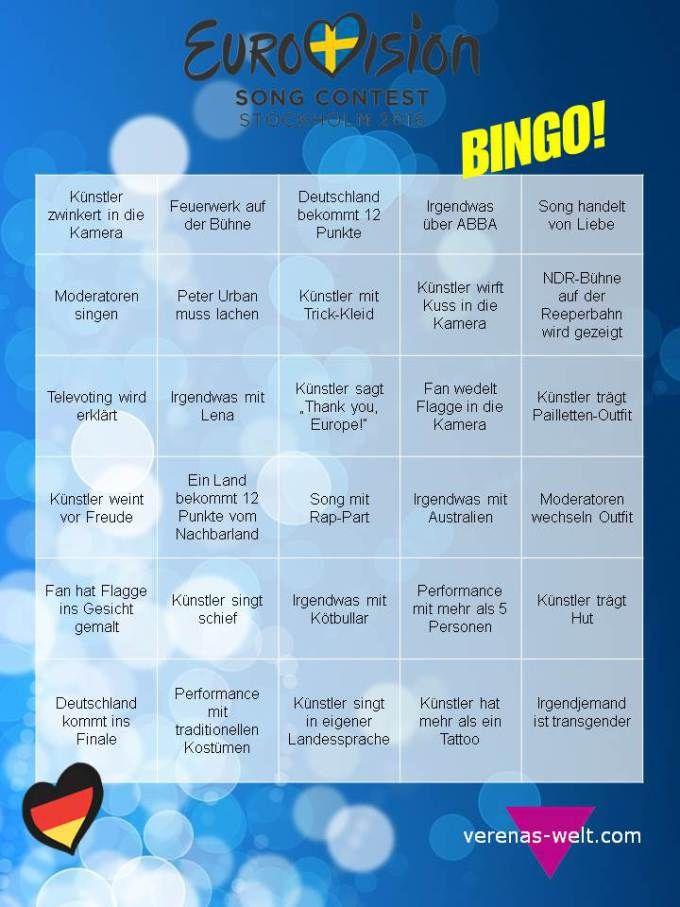 ESC: Eurovision Bingo 2016! // Freebie zum Ausdrucken auf http://www.verenas-welt.com/eurovision-bingo-2016/
