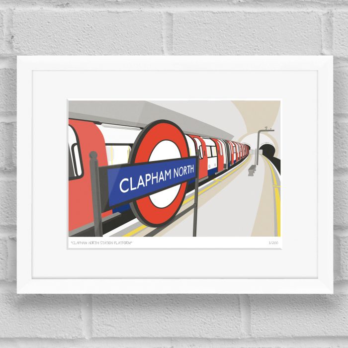 Clapham North Station Platform Art Poster Print White Frame