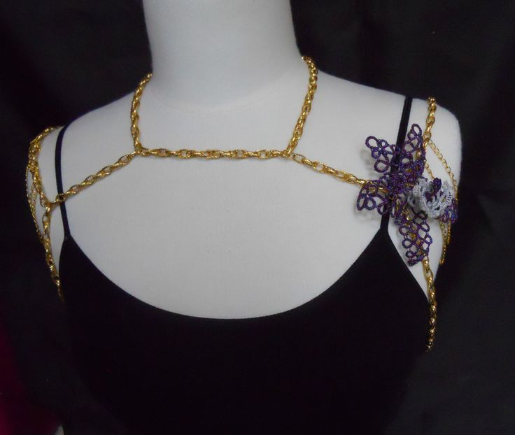 Tatted Purple and White Orchid and Gold Chain Shoulder Drape Body Jewelry by MummyearthDesigns on Etsy