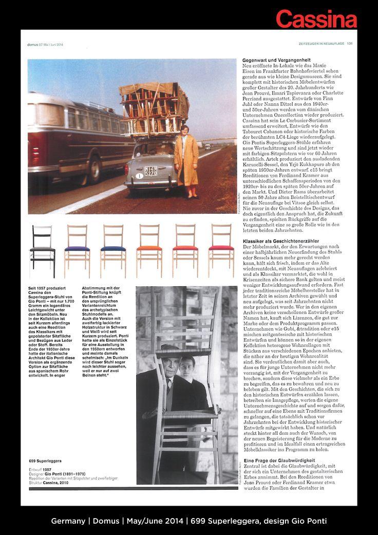 Germany | Domus | May/June 2014 | 699 Superleggera, design Gio Ponti | Discover more on:http://cassina.com/it/collezione/sedie-e-poltroncine/699