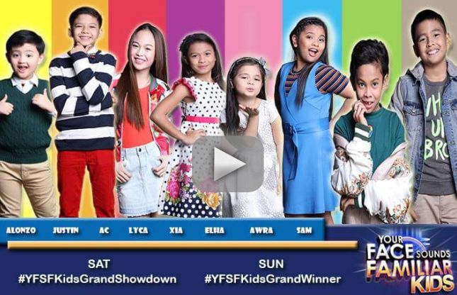 "Your Face Sounds Familiar: Kids Edition grand winner will be named Sunday, April 9, live at the Resorts World Manila in Pasay City. Last night, ""Dance Sweetheart"" AC Bonifacio impersonate Popstar Sarah Geronimo, ""Bibong Child Wonder"" Alonzo Muhlach as Ricky Martin, ""Daytime Princess"" Xia Vigor as Madonna and ""Big Shot Belter"" Elha Nympha as Luciano Pavarotti. Tonight, ""Breakout Child Star"" Awra Briguela, ""Musikerong Charmer"" Justin Alva, ""Young Diva ng Masa"" Lyca Gairanod, ""Talented Cutie""…"