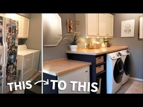 laundry room makeover with hinged counter that opens : diy