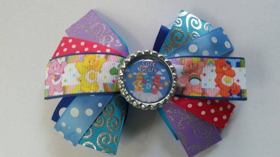 Check out this item in my Etsy shop https://www.etsy.com/listing/249262158/care-bears-bottle-cap-boutique-hair-bow