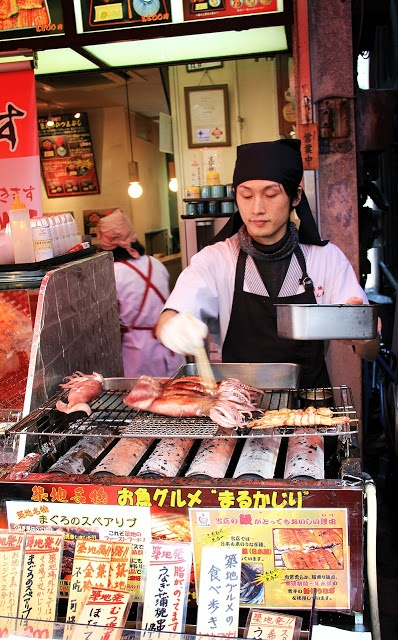 That squid looks quite tasty! Tsukiji Fish Market, Tokyo, Japan