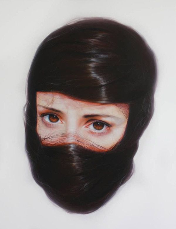 Haunting, hair-entrapped portaits by Roos van der Vliet