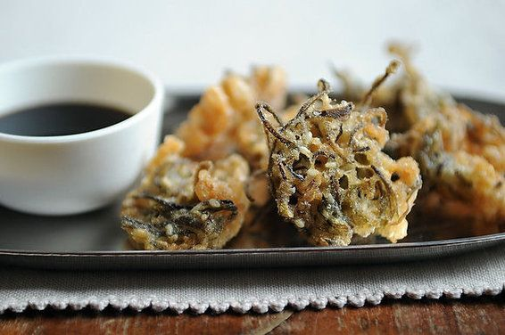 Seaweed Tempura | By merrill |  I present seaweed tempura. The seaweed at Kiwayu was almost translucent, and emerald green. During the day, it undulated gently under our toes as we swam in the crystal clear Indian Ocean -- at night, it served as an addictive bar snack, freckled with sesame seeds and encased in a light, crisp tempura shell. | From: food52.com