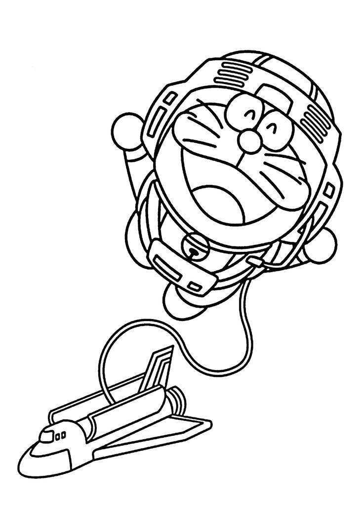Doraemon astronaut coloring pages for kids, printable free - Doraemon cartoon