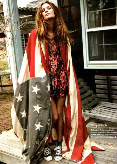 Wrapped in red, white, an blue.: American Flags, Erin Wasson, Stars, 4Th Of July, Stripes, Fashion Editorial, Erinwasson, Rocks, American Girls