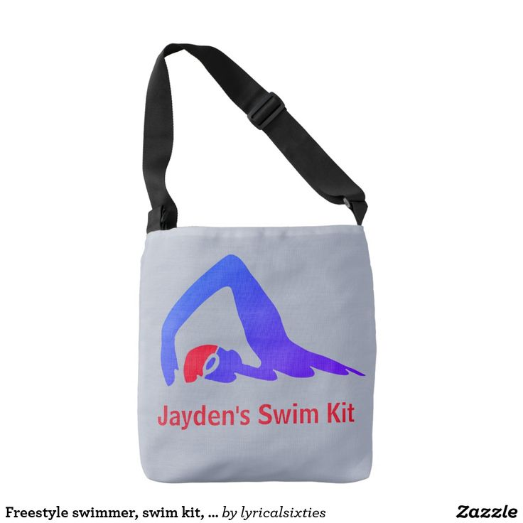 Freestyle swimmer, swim kit, personalised crossbody bag A classic cross body bag to hold your swim kit, decorated with a freestyle swimmer in shades of blue, with a red swim hat. It can be personalised with your choice of name or words.