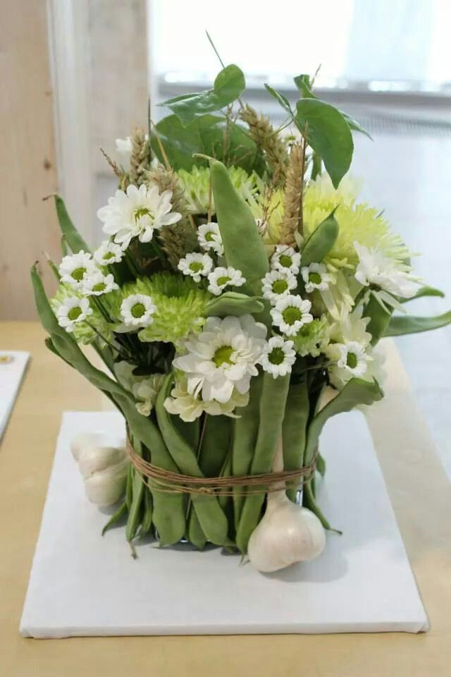 Green and white floral basket
