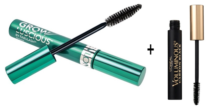 These two mascaras together create longer, thicker lashes. Start with the Revlon Grow Lashes. and apply one coat and repeat with the L'Oreal Carbon Black. I have thin lashes and this technique makes my lashes look thick, full and fake ;)