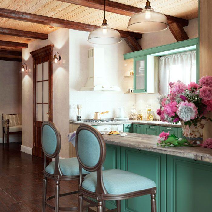 Дизайн кухни. Аквитания от TDM Модульная мебель.  Цвет фасада: софт бирюза. Цвет корпуса: дуб сонома. Декор. Прованс. #design #kichen #provence #декор   #spb #питер #интерьер