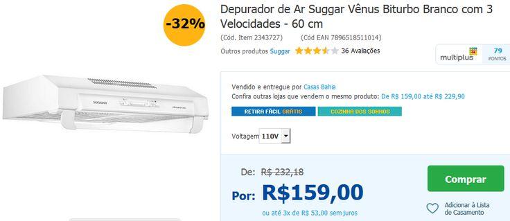 Depurador de Ar Suggar Vênus Biturbo Branco com 3 Velocidades 60 cm << R$ 10900 >>