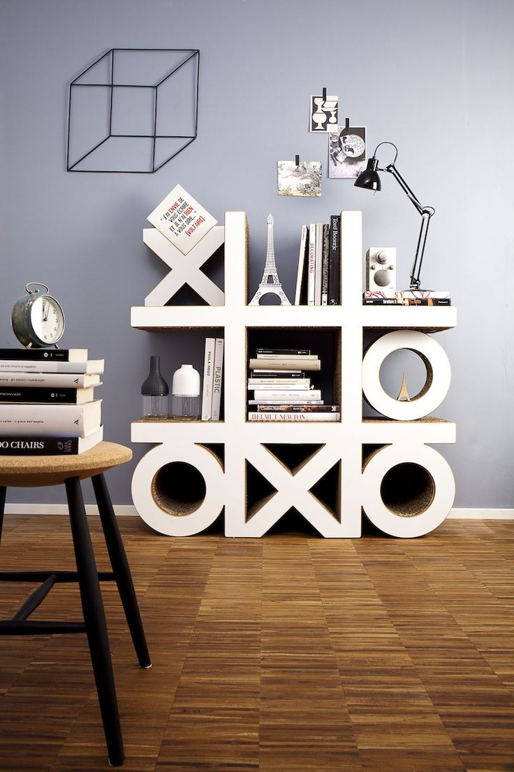 Cardboard Library (Libreria in Cartone) OXO - Corvasce Design. Constructed using cardboard materials, Oxo library is both structurally stable and sustainable. #bookshelf
