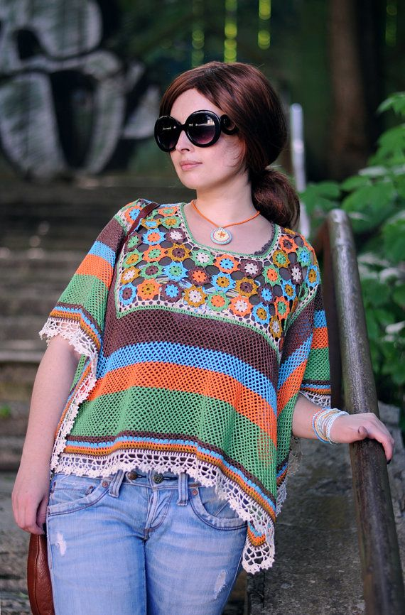 PDF Pattern: OOAK DIY Crochet lace multicolored poncho blouse Boho chic ethnic style poncho Summer clothing Flowers pattern Instant download