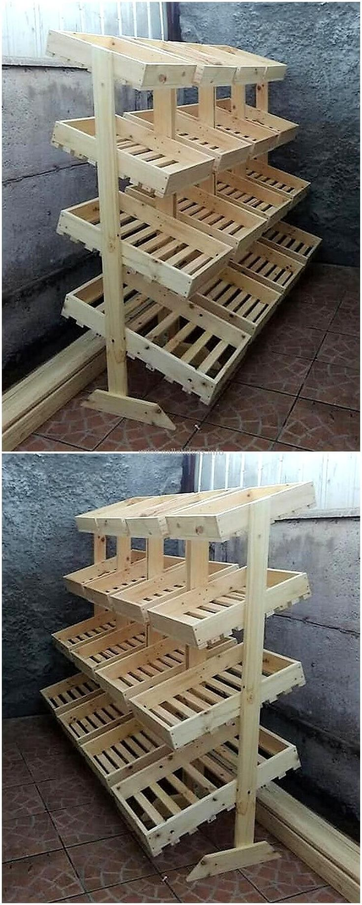 reused wood pallet fruit racks #Palletfurniture